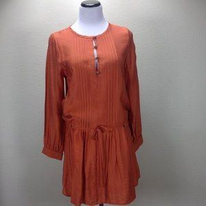 Glam Orange Long Sleeve Drawstring Waist T…
